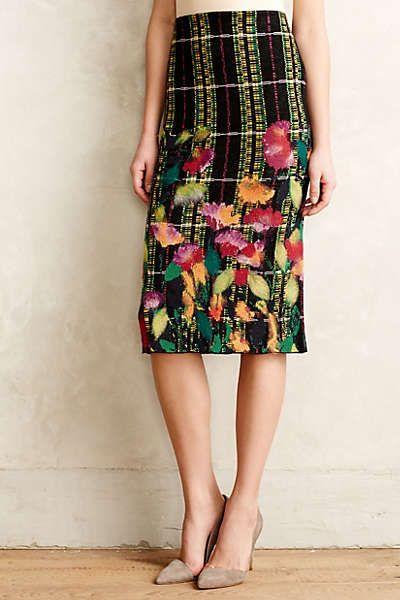 Blossom Checked Pencil Skirt Anthro