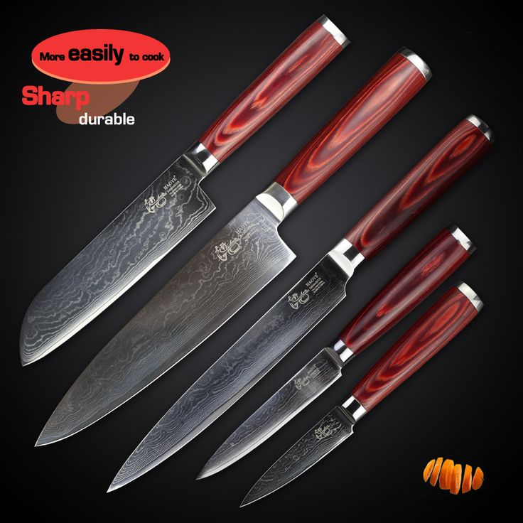 Reviews HAOYE 5 Pcs Kitchen Knives Set Japanese Vg10 Quality Damascus Home  Knife Sashimi Sharp Slicer