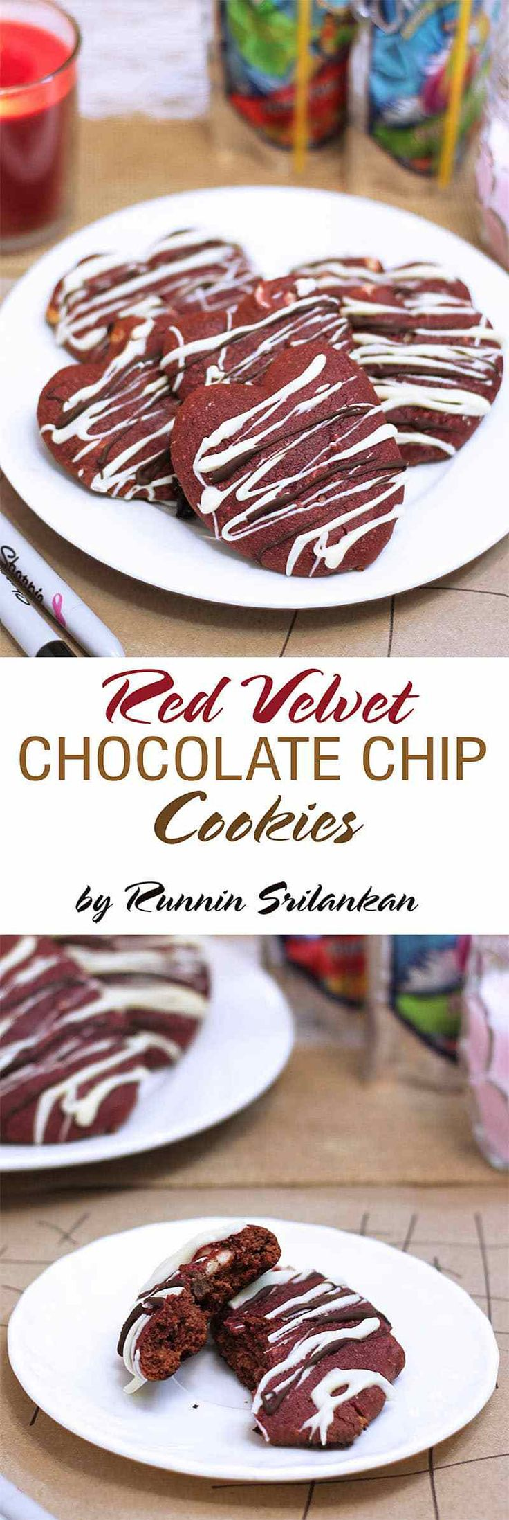 Red Velvet Chocolate Chip Cookies for #Valentinesday