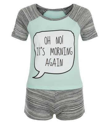 Teens Mint Green Oh No It's Morning Print Pyjama Set