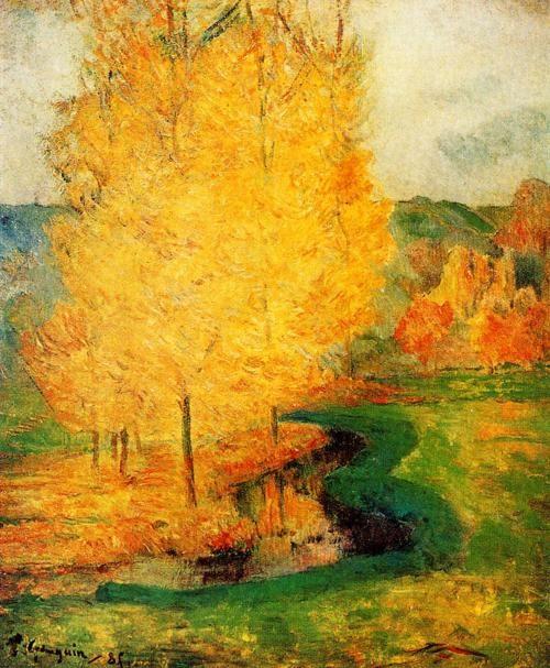 """""""Par le courant, Automne"""" (O córrego no outono), pintura em óleo sobre tela de 1885, das obras-primas de Paul Gauguin. Veja mais em: http://semioticas1.blogspot.com.br/2012/12/inventando-abstracao.html"""