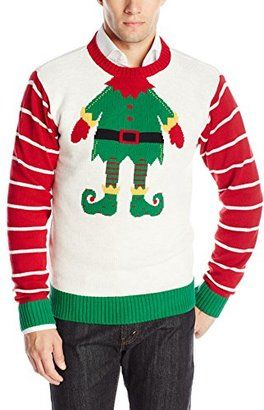 The Ugly Christmas Sweater Kit Men's Elf Head - Shop for women's Sweater - White Head Sweater