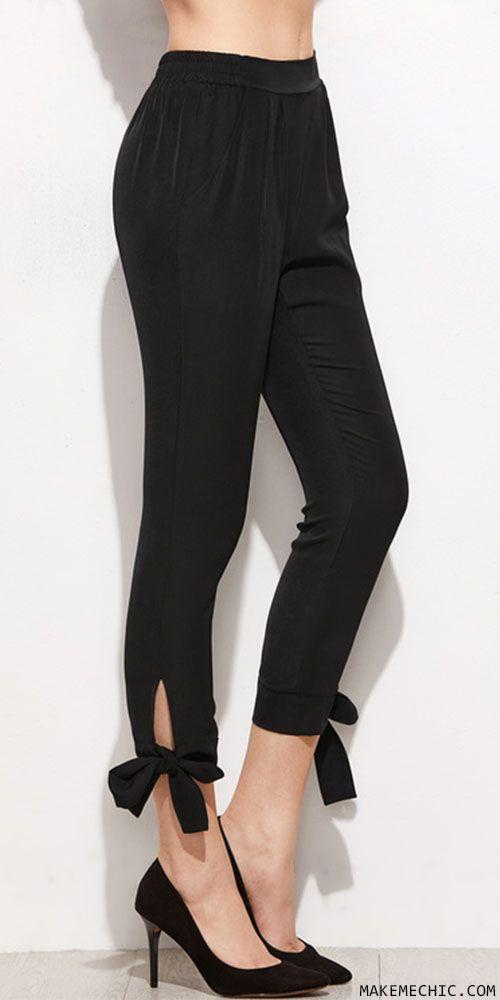 Black Bow Tie Hem Crop Skinny Pants