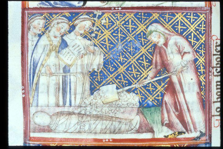 Yates Thompson 31 f. 110v Burying the Dead