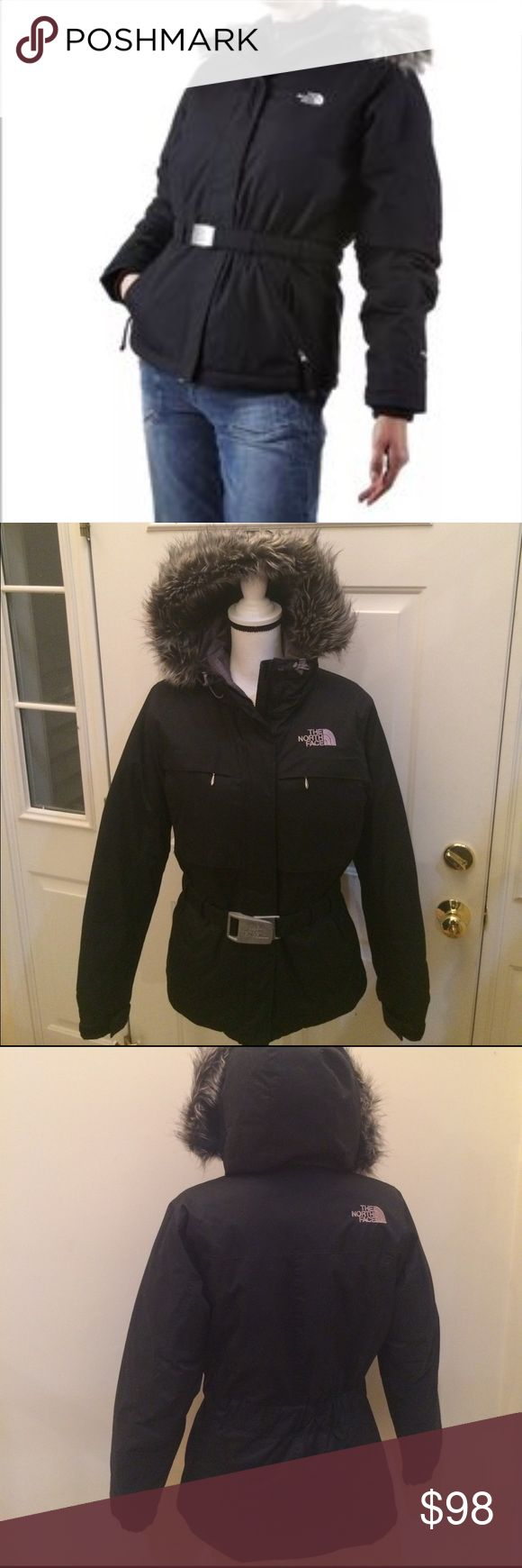 Black North Face Fur Hood w. Belt Parker Size Med Sharp black North Face Hyventa down parker jacket with faux fur hood and belt with silver NF logo buckle size medium. Jacket zips up the front and has 4 pockets on the outside. Inside of jacket is grey lining with 2 interior pockets. Jacket looks really sharp and amazing on and is very comfortable and warm. Jacket has been worn but in great condition with no stains or damage. Love this jacket so much and received so many compliments... Great…