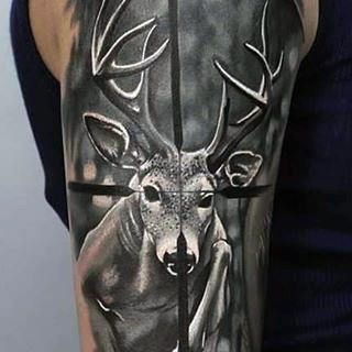 Target Deer Hunting Tattoo Ideas For Males