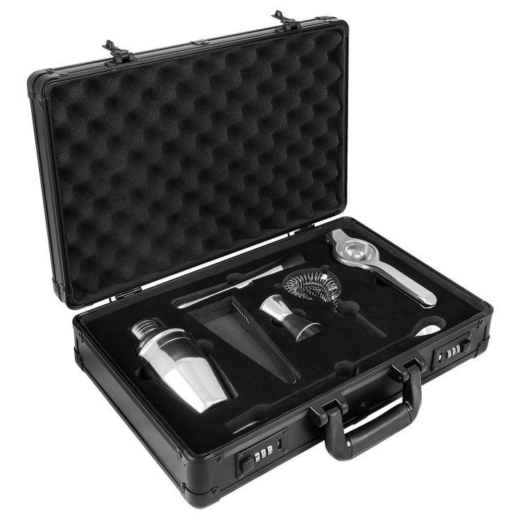 anndora Cocktail Set 7-tlg. Barzubehör Mixer Shaker - Aluminium Koffer Schwarz  | Schwarz