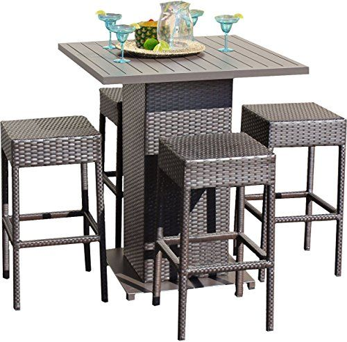 Cheap TK Classics 5 Piece Table Set With Backless Barstools Outdoor Wicker Patio  Furniture Https: