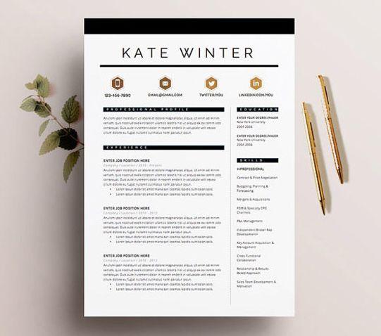 35 best Resume / CV Templates images on Pinterest Resume templates