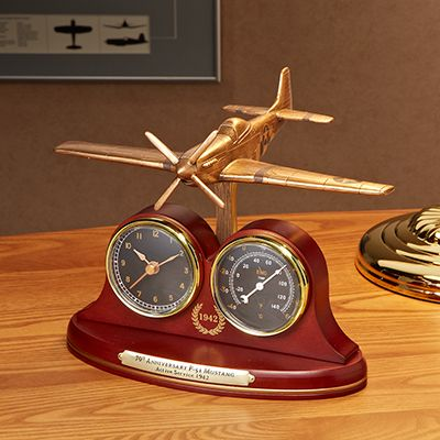 P 51 Mustang Tribute Desk Clock And Thermometer 124 99