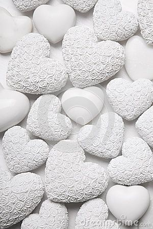 White hearts background with small roses. Shabby chic style.