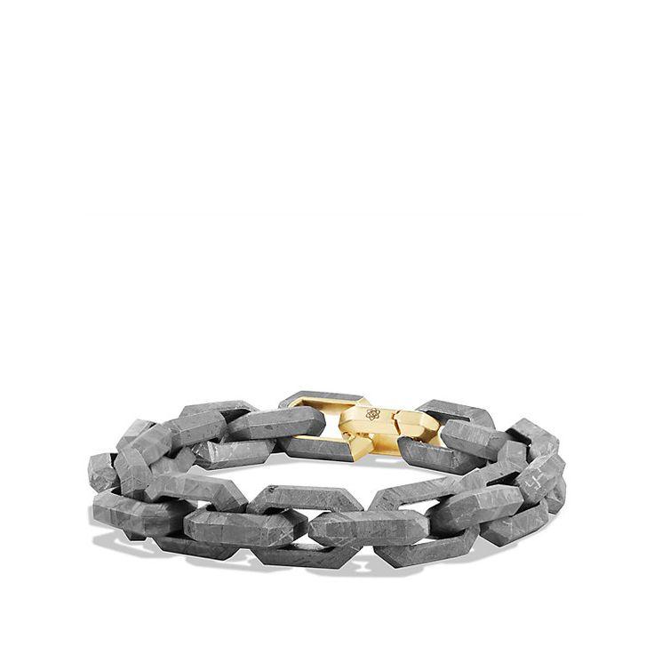 Meteorite Link Bracelet with 18K Gold
