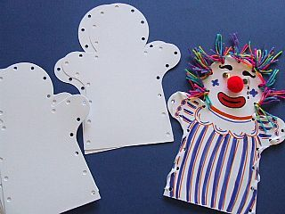 White Card Hand Puppets - Makes 30, Themed Crafts, Circus & Clown Crafts, childrens crafts, childrens craft supplies