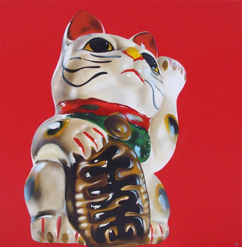 "Heather Millar, Lucky Cat is Lucky, oil on canvas, 36""x36"". $1500"