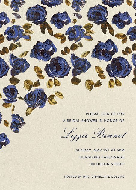 Painted Roses (Tall) by Oscar de la Renta for Paperless Post.  Create beautiful bridal shower invitations with our easy-to-use design tools and RSVP tracking. Available online or on paper. View more wedding-related invitations on paperlesspost.com.
