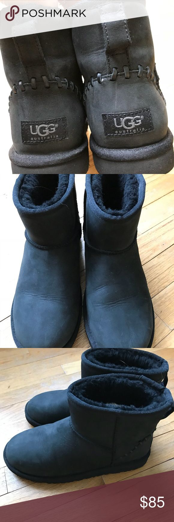 Ugg mini boot- kids size 6/ women's 8 Black ugg mini boot in excellent condition.  Fits a women's 8.  Cute stitching detail in the back. UGG Shoes Winter & Rain Boots