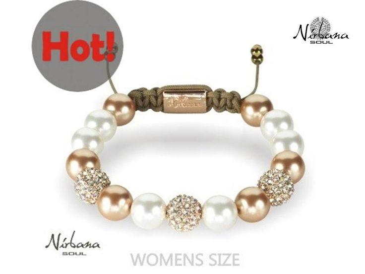 Nirbana Soul - Tamori - Rose Gold and White - Shamballa Swarovski Pearl Bracelet
