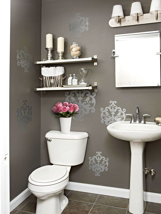 Use wall decals to spice up your bathroom decor. More weekend home decorating projects: http://www.bhg.com/decorating/do-it-yourself/accents/easy-weekend-decorating-projects/?socsrc=bhgpin080213walldecals=22