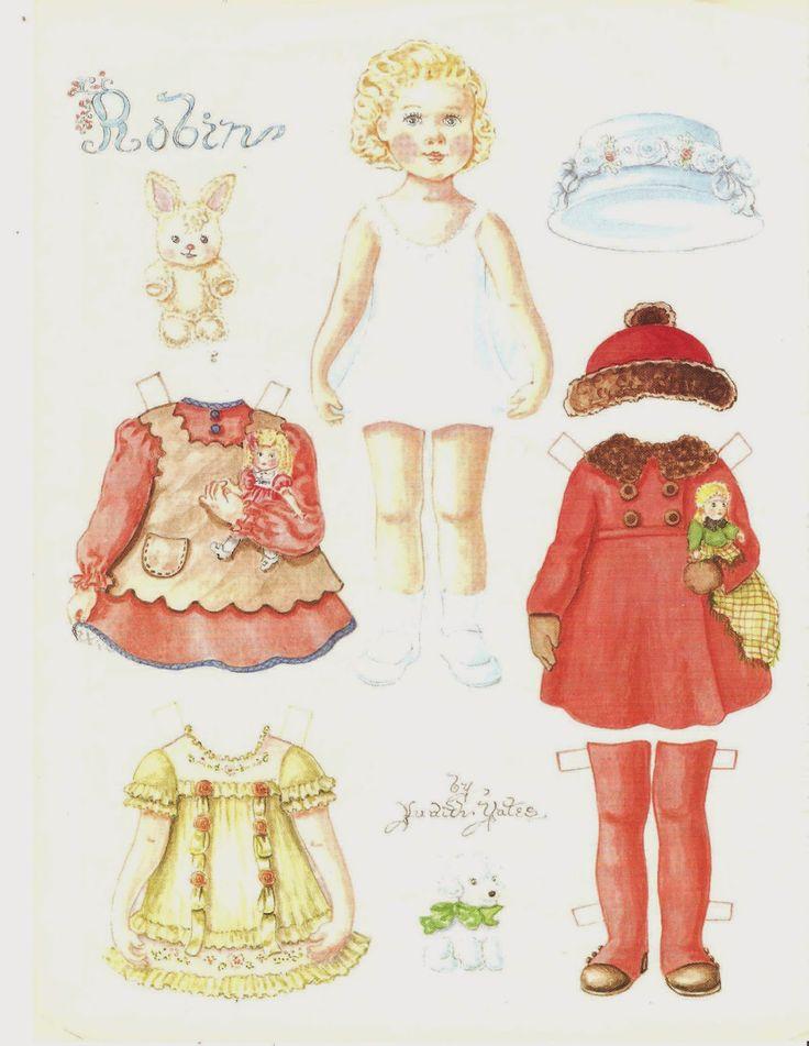 Voici deux pages poupée de papier de Doll lecteur Août 1991 L'artiste est Judith Yates. La poupée a 9 tenues, une paire de chaussures, et deux chapeaux avec quelques amis les animaux. La coloration de ces poupées est très belle. Description: revue poupée Nom: Robin Date: 1991 Editeur: Doll lecteur Artiste: Judith Yates 2 page d'un magazine poupée.