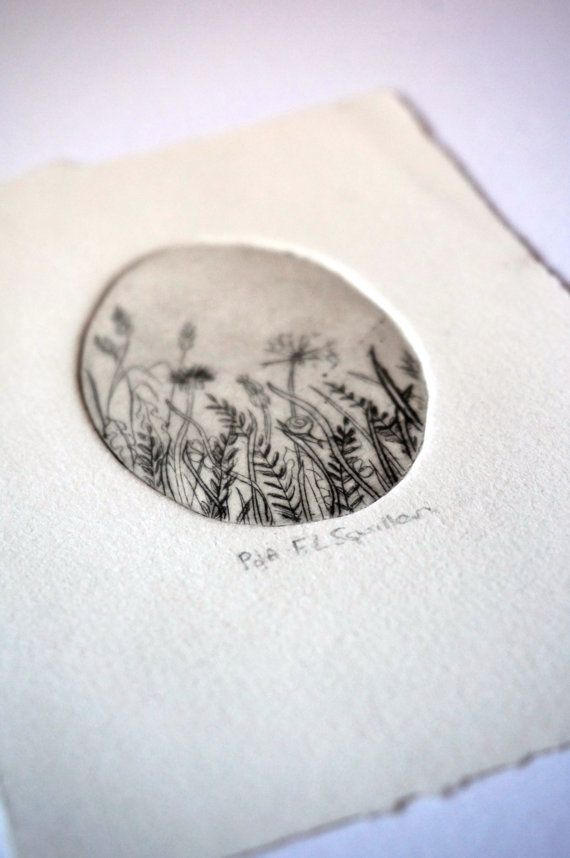 Wildflowers, Handmade Drypoint,Bridal Favor, Spring Flower Art, Wall Art.