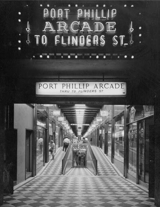Port Phillip Arcade on Flinders St,Melbourne in Victoria (year unknown).