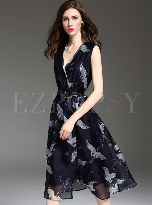 Shop for high quality Elegant Swan Print V-neck High Waist Dress online at cheap prices and discover fashion at Ezpopsy.com