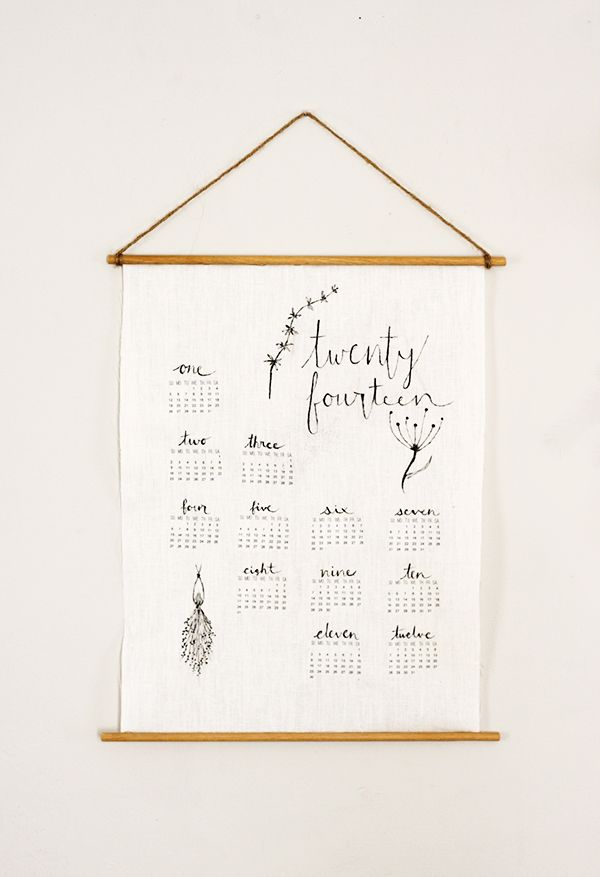 DIY Linen Wall Calendar - print the pattern and iron on
