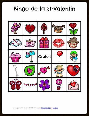 La Magie du Préscolaire - Matériel éducatif et autres   Bingo de la St-Valentin