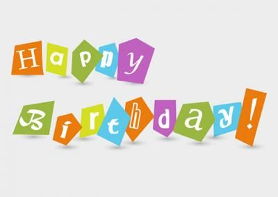 """Colourful """"Happy Birthday"""" text with cutouts on plain white background. Feel free to use it in commercial and non-commercial projects, personal websites and printed work, as long as it's a part of a larger design. Happy Birthday!"""