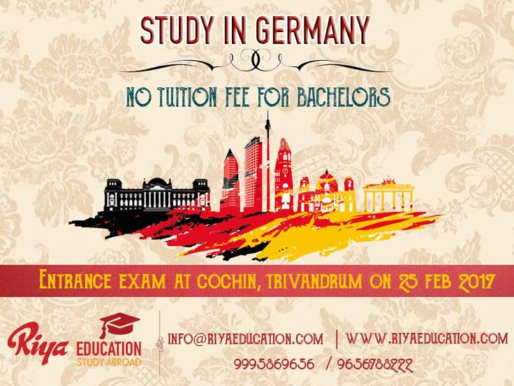 Study in Germany !!!! Entrance exam at Cochin, Trivandrum on 25th Feb 2017. Call or visit our nearest office http://www.riyaeducation.com/contact/ to get more information.