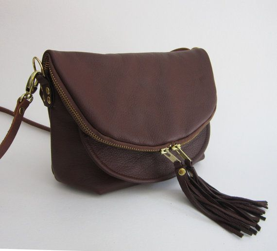 Soft Brown Leather Mini Fold over Day Traveler by frankandgertrude, $220.00