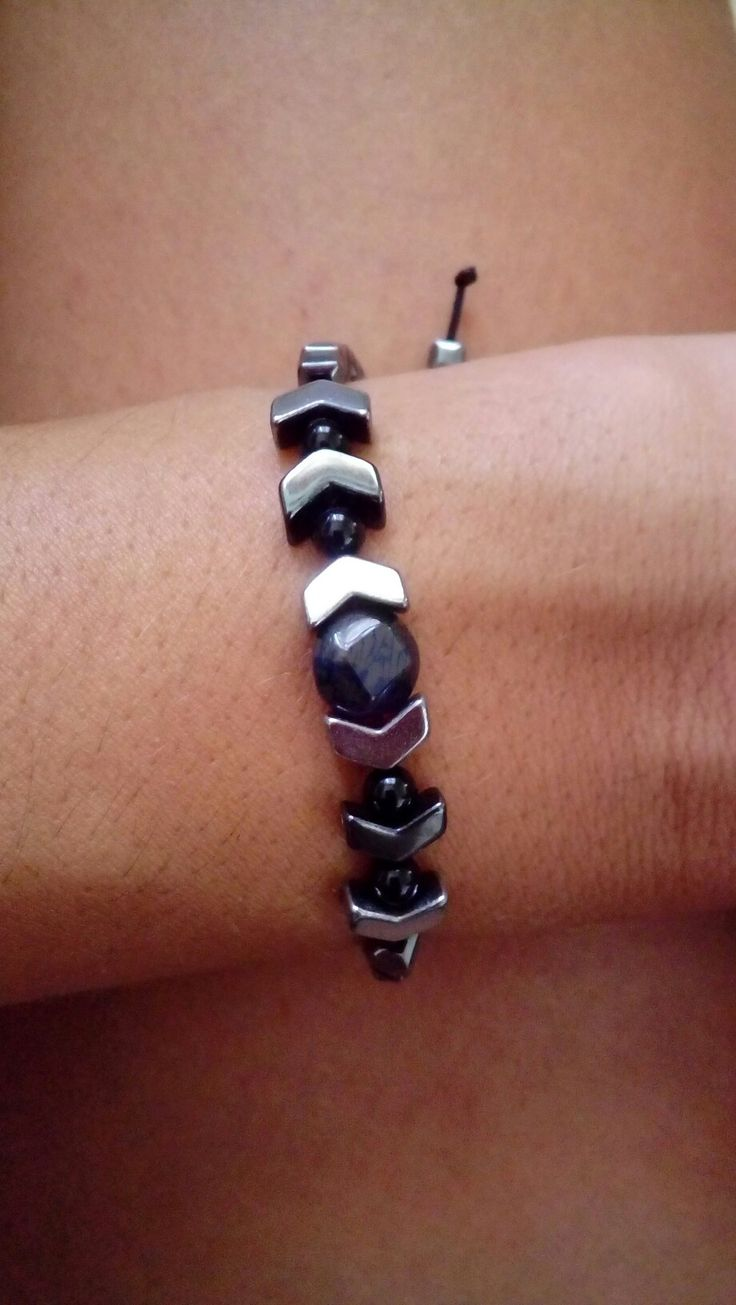 Handmade bracelet, hematite
