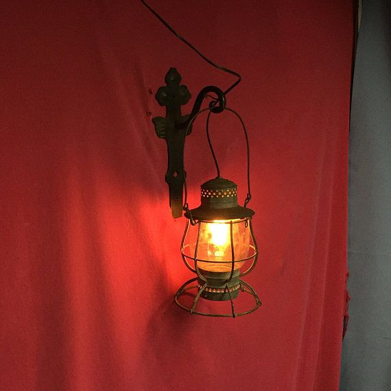 Antique Railroad Lantern Hanging Electric Light Train Light Wall Oil Lantern Sconce Shabby Rustic Ranch Decor Railroad Lanterns Oil Lantern Train Light