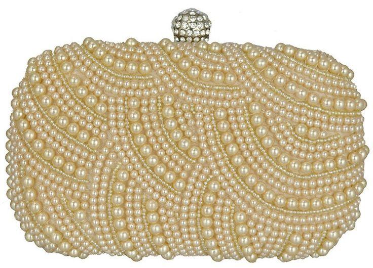 Bolsa De Festa Saara : Clutch p?rola bolsa de festa em tecido dourado e bordada
