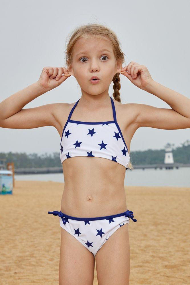 8cc31d15c96 US$ 4.03-Halter Neck Blue Stars Print White Kid Girls Bikini Swimwear  Dropshipping