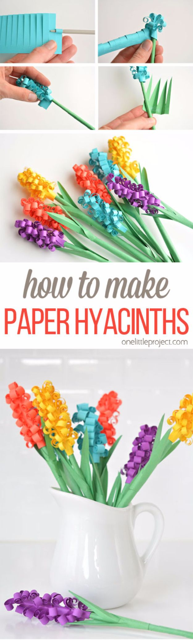 41 Easiest DIY Projects Ever - Paper Hyacinth Flowers - Easy DIY Crafts and  Projects -