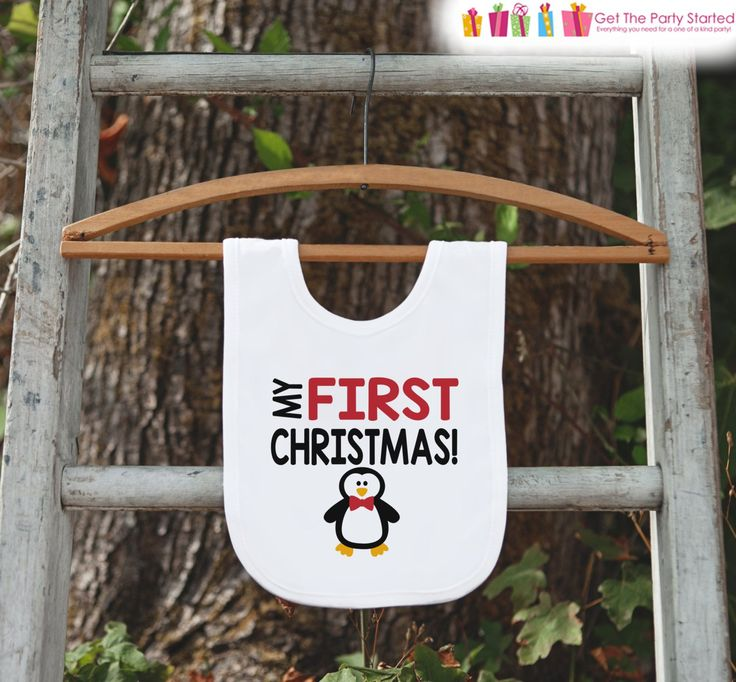 Penguin Bib for Baby - Christmas Bib - First Christmas Dinner Bib - Winter Holiday Bib for Baby Boy - Christmas Gift For Baby