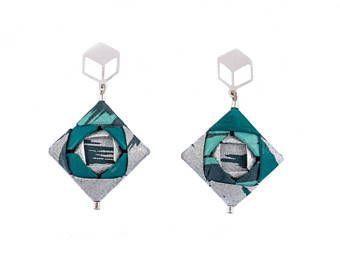 Origami Earrings; Origami Jewelry, Origami Jewellery; Origami; Paper Jewelry; Washi Paper; Japan; Chiyogami; Trendy Jewelry