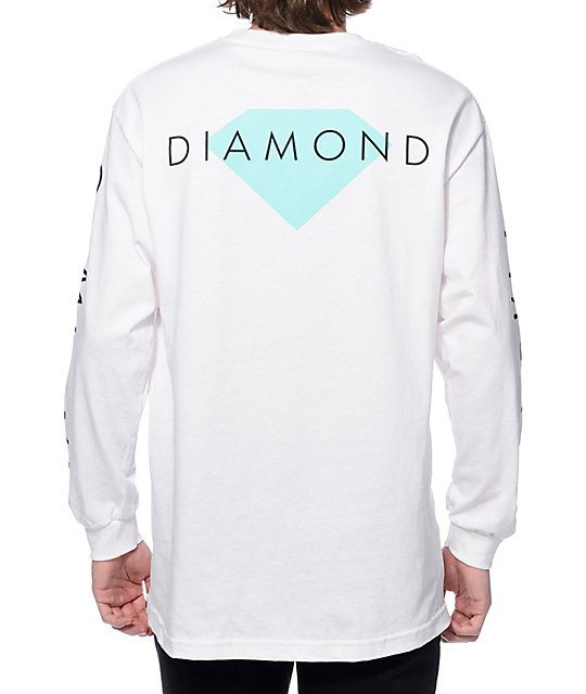 "Let your style shine bright in a crisp new Solid tee from Diamond Supply Co. Add this clean long sleeve t-shirt to any outfit and stand out thanks to the solid mint Diamond logo graphic on the left chest and back plus a black ""Diamond Supply Company"" text"