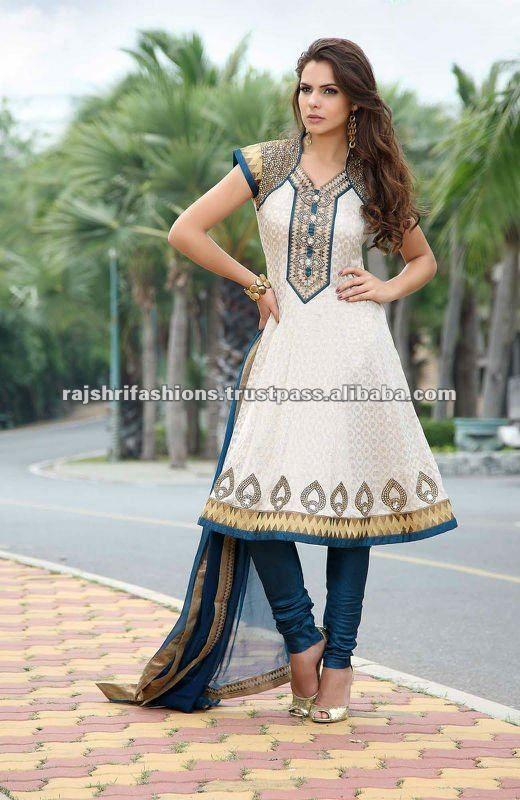 blanco azul anarkali salwar kameez--Identificación del producto:123661455-spanish.alibaba.com