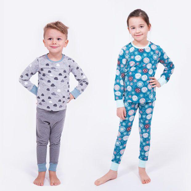 Schnittmuster Kinder-Schlafanzug (Gr. 98 bis 134) - Pyjama für Jungs und Mädchen nähen - Shirt und Hose aus Jersey mit Bündchen - super easy!