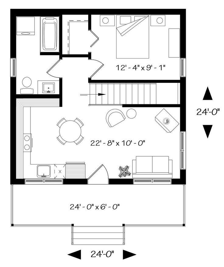 Plano de Casa Estilo Rancho de Un Dormitorio en 54m2