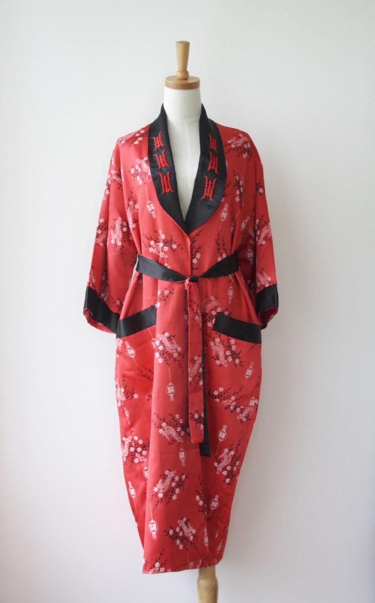 Reversible Chinese satin dressing gown. red melon satin duster. Embroidered…