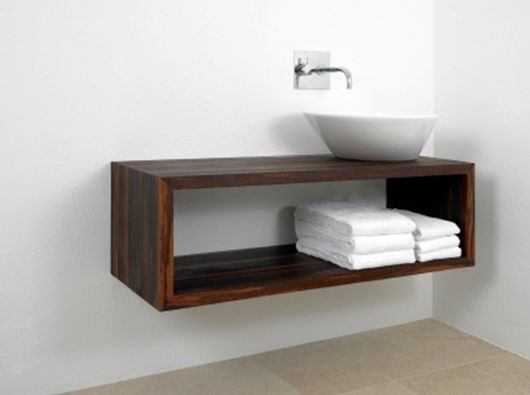 floating-bathroom-vanity. Nice and simple for the bathroom. Maybe with some baskets as drawers?