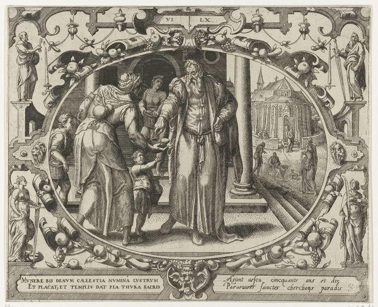 Gerard P. Groenning | De mens op zestigjarige leeftijd, Gerard P. Groenning, 1569 - 1575 | In een ovaal kader versierd met ornamenten een voorstelling van een oudere man die een aalmoes geeft aan een bedelares. Op de achtergrond een kerk. De prent heeft een Latijns en Frans onderschrift.