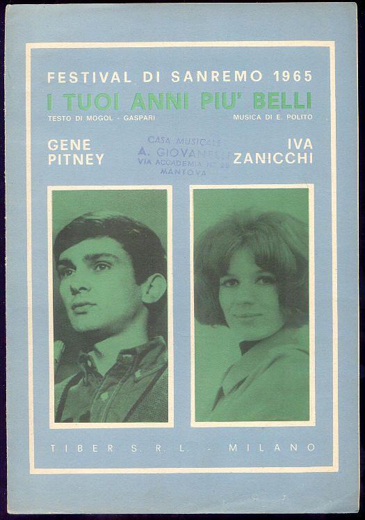 """Gene Pitney, Iva Zanicchi """"I tuoi anni più belli"""" (spartito) Sanremo 1965"""