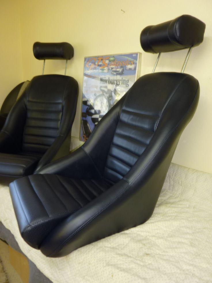 Our 'Hockenheim' seat in dark blue. Classic Car Seats by GTS Classics.