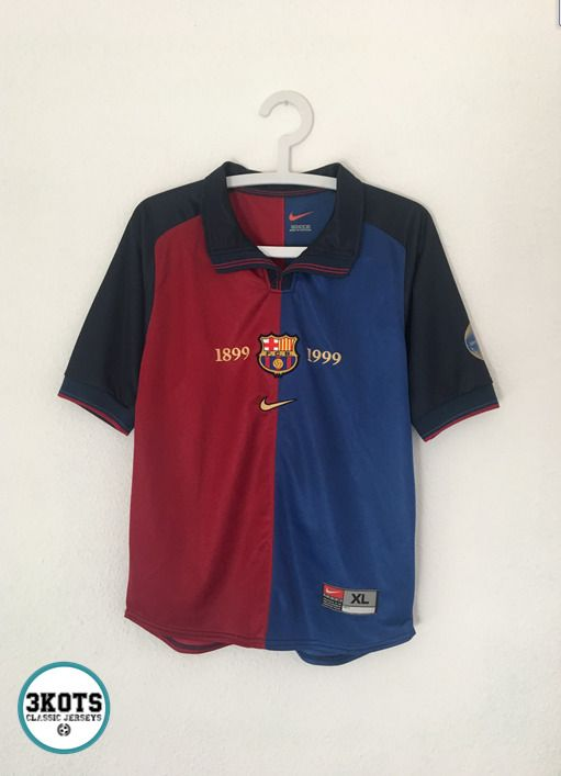 10c734be BARCELONA FC 1999/00 Home Football Shirt (Youth XL) Soccer Jersey NIKE  Vintage