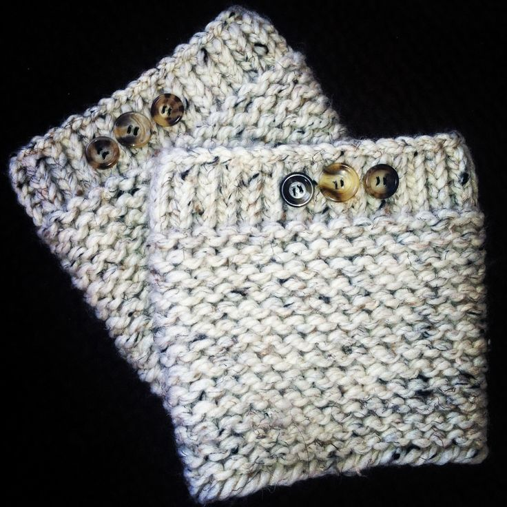 Loom knitting boot cuffs, cream and brown tones with buttons