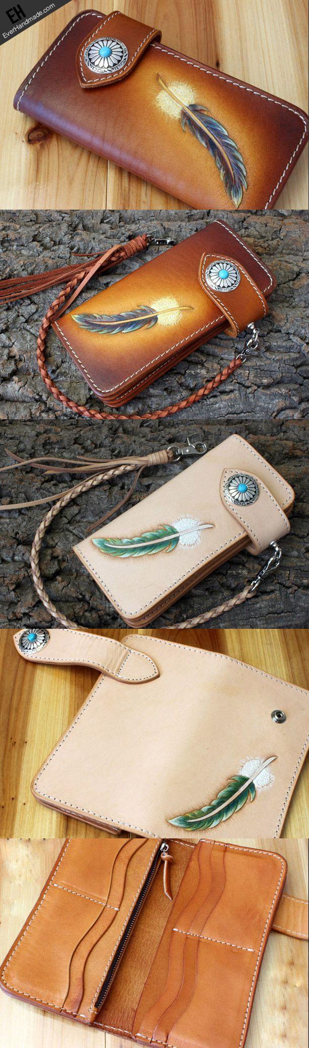 Handmade biker wallet leather vintage feather biker wallet chain Long | EverHandmade